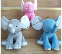 120pcs Monogrammed Stuffed  Elephant  Baby Christmas Gifts Personalized Embroidered Plush Stuffed Animal Toys mix 3 color