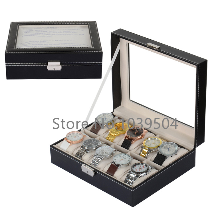 Free Shipping Lateral Lock 10 Grids Watches Box Brand Black Leather Watch Display Box With Key Storage Watch Boxes Case D021<br>