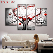 YouYiBao Oil Painting Modern Abstract Hand Painted Home Wall Art Decoration For Living Room 4pcs Set Red Heart Life Tree Picture