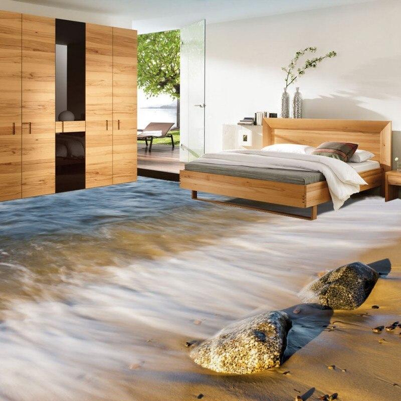 Free Shipping Beach stone sea waves 3d bathroom floor thickened waterproof bedroom living room flooring wallpaper mural<br>