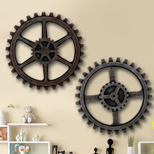 Home Decorations Antique Wheel Gear Shaped Wooden Ornaments Vintage Living Room Bar Club Wall Hanging Plates(China)