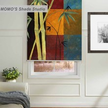 MOMO Blackout Painting Window Curtains Roller Shades Blinds Thermal Insulated Fabric Custom Size ,PRB set467-472