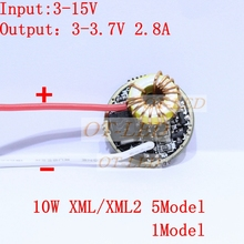 2pcs/lot,5 Mode/1Mode Constant Current 2800mA DC 12V XML T6 Led Driver For Cree XML XM-L2 LightingTransformers 5 Mode