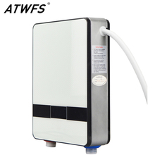 ATWFS Instantaneous Water Heater 6500w Induction Heater Thermostat Instant Hot Shower Water Electric Tankless Shower Heaters(China)