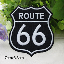 5 pcs/lot 7 cm*8.8 cm Biker Vest Jacket Cloth Patches ROUTE 66 Mark HARLEY RIDER DIY Parts Loco Motive Embroidery Patches