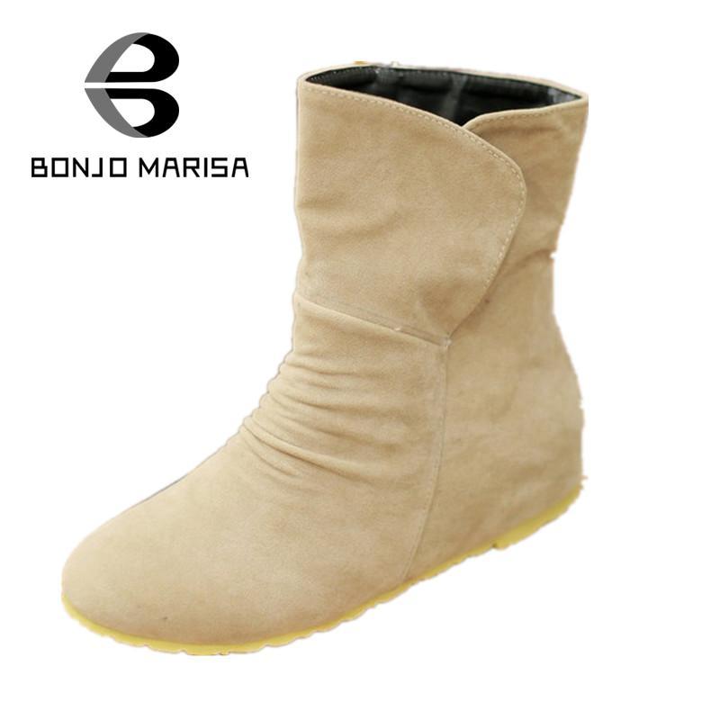 BONJOMARISA New 2017 Cheap Women Spring Shoes Low Hidden Wedges Half Knee High Ankle Shoes Flats Heels Platform Autumn Boots<br><br>Aliexpress