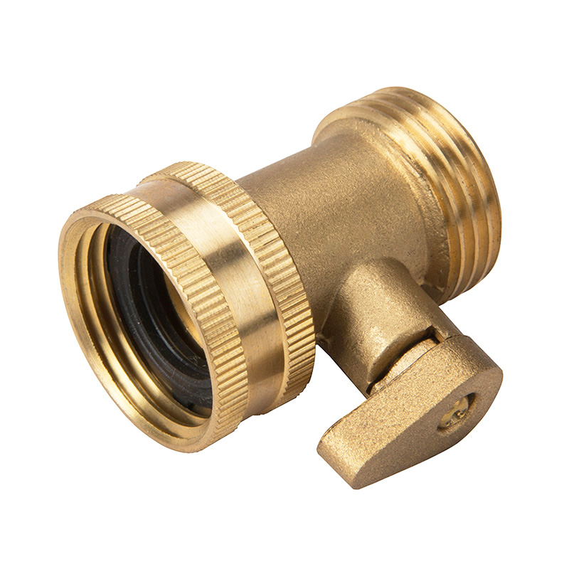 2 Way Y Hose Connector Two Way Metal Garden  Shutoff Valve Brass Free Shipping