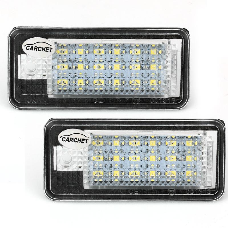CARCHET LED Lights 12V 1 Pair White 18 SMD LED License Plate Lights Lamps Bulbs for Audi A3 A4 8E RS4 A6 RS6 High Quality <br><br>Aliexpress