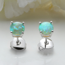 1 Pairs New Fashion Women's Round/Heart Cut Rainbow White Blue Green Fire Opal Ear Stud Earring Jewelry Special Gift(China)