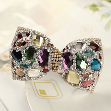 New Korean Women's Trendy Hair Accessories Jewelry Chic Colored Big Full Crystal Rhinestone Hair Bows Clip Bowknot Hair Barrette