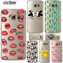 Phone Case Sexy Lips Cactus Mickey Mouse Panda for Samsung Galaxy S7 S6 Edge A3 A5 J5 J7 2016 2015 10 S5 Silicon Transparent tpu