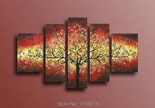 Ready Source Of Money High Quality Tree Oil Painting On Canvas 5 pcs Set Home Wall Art Decoration Modern Picture For Living Room