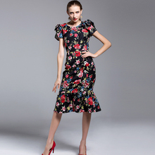 Vintage Dress 2017 New Summer Ethnic Style Short Sleeve New Floral Print Topshop Trumpet Incity Women Fashion Dress