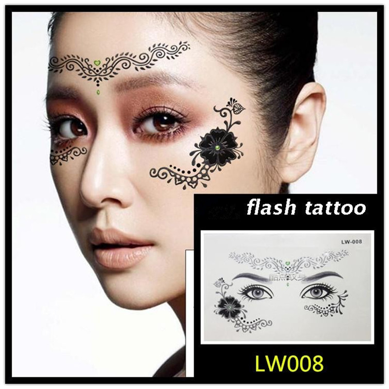 Hot sale Masquerade flash tattoo paste face temporary face stickers jewelry Arab India's large temporary tattoos makeup tattoo 8