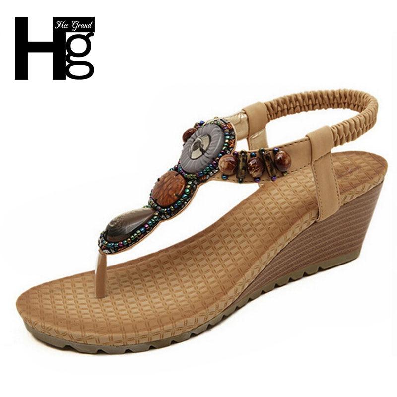 HEE GRAND 2017 Bohemia Wedge Women Sandals Summer Vintage Rhinestone Woman Flip Flops Beach Women Shoes Chaussure XWZ415<br><br>Aliexpress