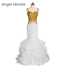 Angel Novias Sexy Long Mermaid White and Gold Prom Dress 2017 Spaghetti Strap Appliques Lace Ruffled Organza Evening Gown(China)