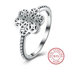 LUALA  Vintage 100% 925 Sterling Silver Flower Floral Daisy Lace Wedding Engagement Ring Women Fine Fashion Jewelry