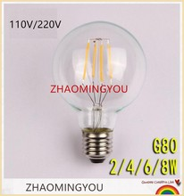 YOU LED E27 Edison vintage light bulb lamp G80 4W 6W 8W ac110V 220V Dimmer luminaria steampunk miniature chandeliers lighting - Shop2883051 Store store