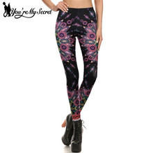 [You're My Secret]New Bohemia Aztec Round Ombre Flower Leggings Women 3D Printing leggins Sexy Silm Fitness Fashion Women Pants