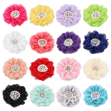 50pcs/lot 16colors 9cm Shabby Chiffon Petals Poppy Flower+Rhinestones Pearls for Baby Girls Hair Accessories/Headband/Hair clips(China)