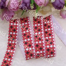 Plaid, new product, Free shipping, 5/8''printed fold over elastic 100yards/lot,, heat transfer
