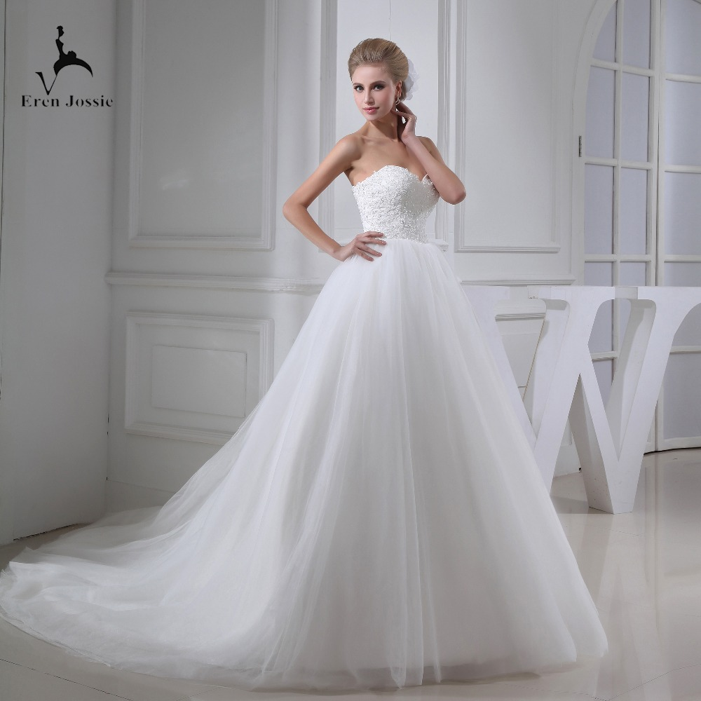 Eren Jossie Fashion Stunning Ivory Tulle Ball Gown Outdoor Wedding Gown Corset Back Beaded Appliques Bodice