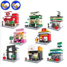 A TOY A DREAM City Series Mini Street Model Store Shop with Apple Shop McDonald`s Building Block Toys Compatible with Lepingoes