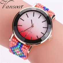 Vansvar Fashion Colorful Braided Handmade Clocks Ladies Women Quartz Wrist Watch Creative Apr24