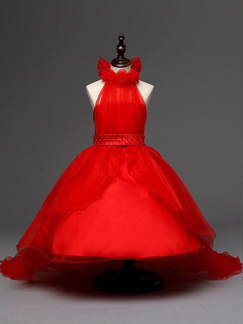 kids new arrivals  toddler girl dresses asymmetrical red flower girl dresses for weddings and party<br><br>Aliexpress