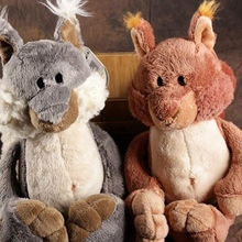 candice guo! Nici plush toy cute cartoon Squirrel Bell tail stuffed doll lover birthday Christmas gift gray/ brown 1pc(China)
