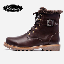 37~49 Men Winter Boots Plus Size Top Quality Cow Split Motorcycle Retro Leather Boots #LS008(China)
