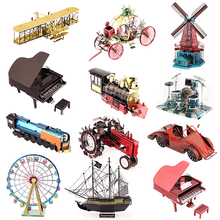 DIY Iron Man 3D Mini Metal Puzzle Assemble Piano Buildings Black Pearl Fighter Adult Jigsaw Model Education Toys For Children