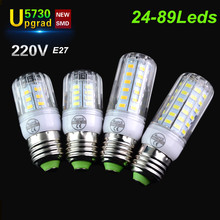 High Luminous Flux 5730 E27 LED Corn Bulb Light 220V Upgrade Shade Design 24 30 42 64 80 89LED lamps Longer Life Indoor Lighting