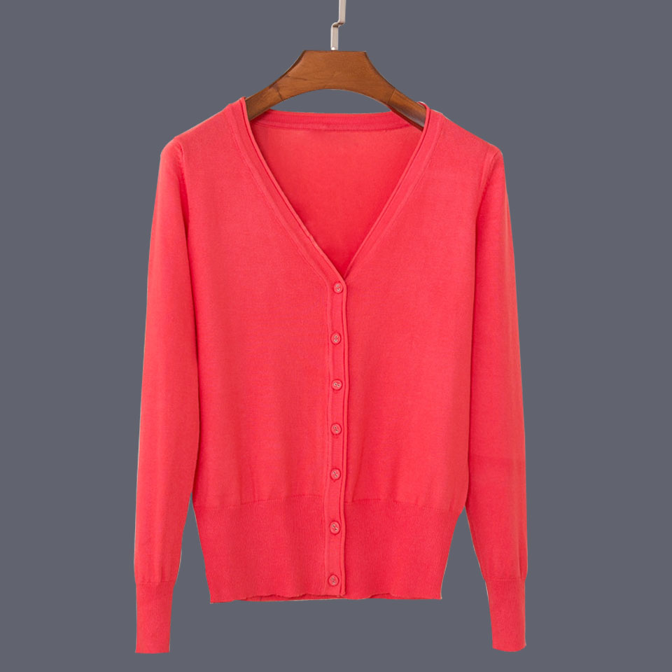 17 New Top Selling Spring Woman Sweater Tops Fashion Knitted Long Sleeve V-Neck Solid Loose Size Casual Woman Cardigan Sweater 25