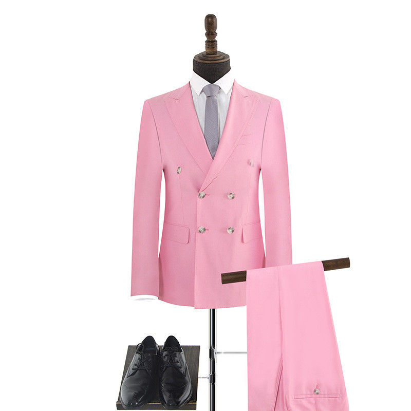 Customized new men's suit two-piece suit (jacket + pants) men's double-breasted pink formal suit wedding groom groomsmen dress