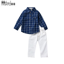 Boys clothes kids plaid long sleeve shirt suit pants fashion popular outfit stylish casual clothing set children costume cotton