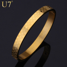 U7 Luxury Plaid Style Gold Plated 316L Stainless Steel Bangle Women/Men Jewelry Trendy Round Bracelet Bangle Gift H472