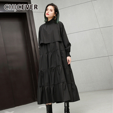 Buy CHICEVER 2018 Spring Black Women Dress Loose Big Size Elastic Collar Long Sleeve Pullovers Dresses Clothes Fashion Vestidos for $22.94 in AliExpress store