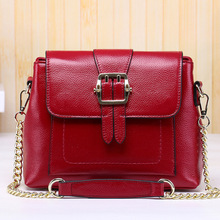 2017 brands ladies cow genuine leather chain shoulder bags for female black burgundy women cowhide crossbody messenger bag YI315