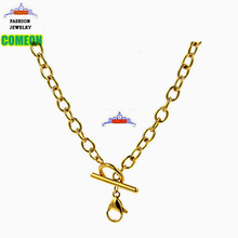 18'' gold toggle necklace flat cable oval chain 316l stainless steel gold chain for floating charms locket(China)