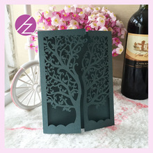 150pcs/lot tree design laser cut wedding invitation card greeting card with white envelop QJ-26(China)