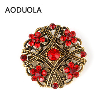 Gold Color Flower Brooch with Red Rhinestone Brooches For Female Pins For Wedding Women Scarf Clip Collar Tips Bouquet