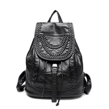 High-grade Leather Backpacks Washed Leather Bag Shoulder School Bags For Girls Female Casual Travel Bags Mochila