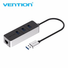 Vention J44 USB3.0 HUB With Million Ethernet Interfaces High Stability Chip Support For Desktops Laptops Computer(China)