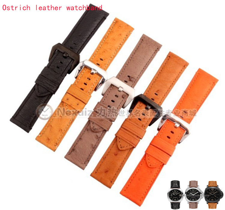 Classic stype Ostrich Leather watchband straps Bracelet for brand watches Pam111 24mm Orange Yellow Black Brown Grey Promotion<br>