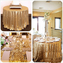 Diameter 228CM 150CM 120CM 80CM Fashion Round Gold Silver Sequin Table Cloth Wedding Banquet Party Decoration Table Cloth V30(China)