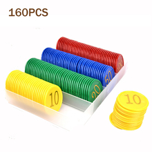160PCS Pocker Chips and Storage Box Set Gold Number Gambling Chips with value for Board Game High Quality Plastic 3.8cm Diameter