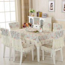 Pastoral Flowers Lace Tablecloth Set,13 Pcs/Set Chair Mats Chair Covers and Tablecloths,Tablecloths for weddings Party Dining