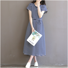 2017 Striped Cotton Nursing Clothes Short-sleeved Maternity Dress for Pregnant Women Breast Feeding Tops long dresses 8994(China)