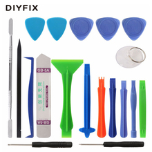 DIYFIX 19 in 1 Opening Tool Metal Pry Bar Smartphone Disassemble Repair Tools Kit for iPhone Samsung Hand Tool Set